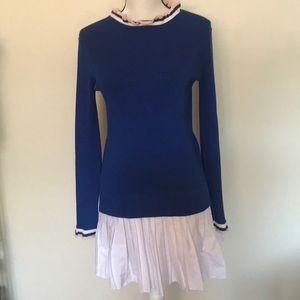 English Factory dress S nautical knit blue/white
